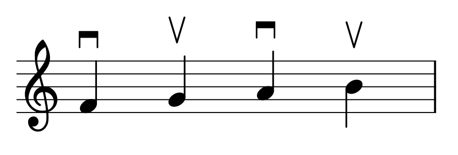 """Ejemplos de """"arco arriba"""" y """"arco abajo"""""""